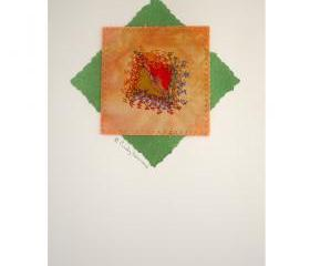 Greeting Card, Mixed Media, Handmade, Peach, Green